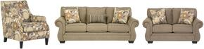 Tailya Collection 47700SLAC 3-Piece Living Room Set with Sofa, Loveseat and Accent Chair in Barley and Espresso