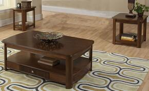 30712CEE Leighla 3 Piece Occasional and Entertainment Table Set with Cocktail Table, End Table and Chairside End Table, in Chestnut