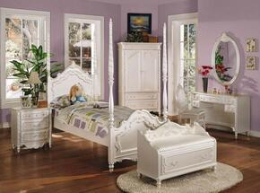 Pearl Collection 00995FNBCDM 6 PC Bedroom Set with Full Size Bed + Nightstand + Bench + Chair + Desk + Mirror in Pearl White and Gold Accents Finish
