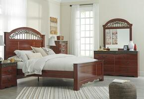 Fairbrooks Estate King Bedroom Set with Panel Bed, Dresser and Mirror in Cherry