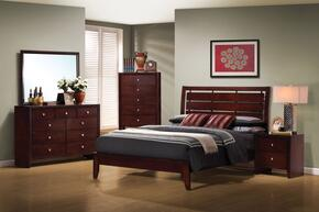 Serenity Collection 201971KWSET 5 PC Bedroom Set with California King Size Bed + Dresser + Mirror + Chest + Nightstand in Rich Merlot Finish