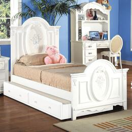 01677FBTDC Flora 4 PC Set Full Size Panel Bed + Trundle + Desk + Student Chair in White Finish