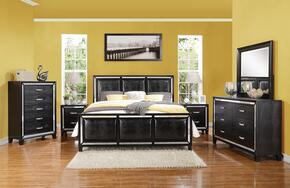 Elberte 22790Q6PC Bedroom Set with Queen Size Bed + Dresser + Mirror + Chest + 2 Nightstands in Black Color
