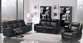 Carly 717685C 3 Piece Living Room Set with Reclining Sofa + Reclining Loveseat and Reclining Chair in Black