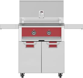"30"" Liquid Propane Grill with ECD30RD Tower Grill Cart with Two Doors, in Matador Red"
