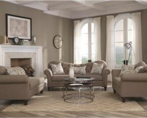 "Carnahan Collection 505251 66"" Traditional Sofa, Love Seat and Chaise in Stone Grey Fabric Upholstery"