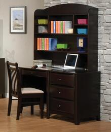Phoenix 400187SET 3 PC Desk Set with Computer Desk + Hutch + Chair in Cappuccino Finish