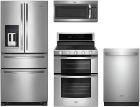 """4-Piece Stainless Steel Kitchen Package with WRX735SDBM 36"""" French Door Refrigerator, WGG745S0FS 30"""" Freestanding Gas Range, WMH31017FS 30"""" Over the Range Microwave, and WDT970SAHZ 24"""" Fully Integrated Dishwasher"""