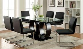 Lodia I Collection CM3825BKTTABLE6SC 7-Piece Dining Room Set with Rectangular Table and 6 Side Chairs in Black