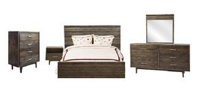 AV71Q5PC Avondale 5 PC Bedroom Set with Queen Size Bed + Dresser + Mirror + Chest + Nightstand in Charcoal Finish