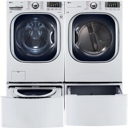 "White Front Load Laundry Pair with WM4370HWA 27"" Washer, DLGX4371W 27"" Gas Dryer, WDP4W Pedestal and WD100CW SideKick Pedestal Washer"