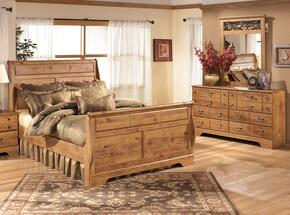 Bittersweet Queen Bedroom Set with Sleigh Bed, Dresser and Mirror in Light Wood