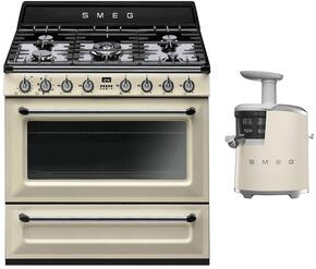"2-Piece Cream Kitchen Package with TRU90P 36"" Freestanding Dual Fuel Range and SJF01CRUS 7"" Slow Juicer"