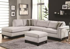 Mason 503615SET 2 PC Living Room Set with Sectional Sofa + Storage Ottoman in Blue Grey Color