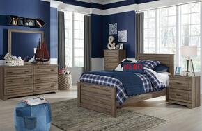 Javarin Twin Bedroom Set with Panel Bed, Dresser, Mirror, Nightstand and Chest in Greyish Brown