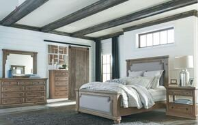 Florence Collection 205171KESET 5 PC Bedroom Set with Eastern King Size Panel Bed + Dresser + Mirror + Chest + Nightstand in Rustic Smoke Finish
