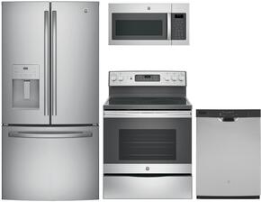 "4-Piece Stainless Steel Kitchen Package with GFE24JSKSS 33"" French Door Refrigerator, JB655SKSS 30"" Freestanding Electric Range, JVM6175SKSS 30"" Over the Range Microwave, and GDF610PSJSS 24"" Full Console Dishwasher"