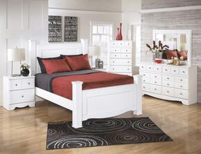 Weeki Queen Bedroom Set with Poster Bed, Dresser, Mirror and Nightstand in White
