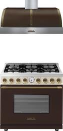 "2-Piece Brown and Cream Matte with Bronze Accent Kitchen Package with RD361SCMCB 36"" Dual Fuel Natural Gas Range and HD481BTMB 36"" Wall Mount Hood (Electronic Controls, 600 CFM Blower)"