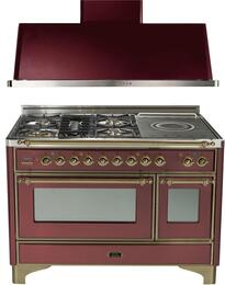 "2-Piece Burgundy Kitchen Package with UM120SDMPRBY 48"" Freestanding Dual Fuel Range (Oiled Bronze Trim, 5 Burners, French Cooktop) and UAM120RB 48"" Wall Mount Range Hood"