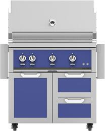 "36"" Freestanding Liquid Propane Grill with GCR36BU Tower Grill Cart with Triple Doors, in Prince Blue"