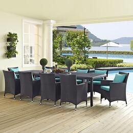 EEI-2219-EXP-TRQ-SET Convene 11 Piece Outdoor Patio Dining Set