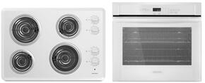 "2-Piece Kitchen Package with ACC6340KFW 30"" Electric Cooktop and AWO6317SFW 27"" Electric Single Wall Oven in White"