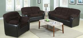 Connell 15975SLC 3 PC Living Room Set with Sofa + Loveseat + Chair in Chocolate and Espresso Color