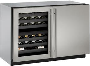 """Modular 3000 Series 2-Piece Stainless Steel Package with U3024ZWCS01A 24"""" Left Hinge Wine Captain and U3024FZRS00A 24"""" Right Hinge Upright Freezer"""