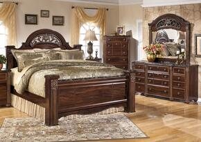 Gabriela Queen Bedrrom Set with Poster Bed, Dresser and Mirror in Dark Reddish Brown