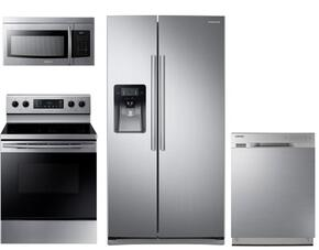 "4 Piece Kitchen Package With NE59K3310SS 30"" Electric Range, ME16K3000AS Over the Range Microwave Oven, RS25J500DSR 36"" Side By Side Refrigerator and DW80J3020US 24"" Built In dishwasher In Stainless Steel"