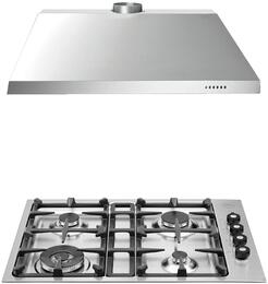 "2-Piece Stainless Steel Kitchen Package with Q30400X 30"" Low Edge Gas Cooktop and KU30PRO1X14 30"" Canopy Hood"
