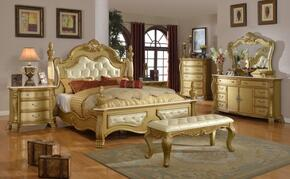 Lavish LAVISHQDMCNB 7 PC Bedroom Set with Queen Size Bed + Dresser + Mirror + Chest + 2 Nightstands + Bench in Gold finish