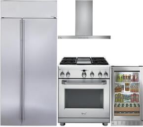 "4-Piece Stainless Steel Kitchen Package with ZISS420NKSS 42"" Side by Side Refrigerator, ZDP364NDPSS 36"" Freestanding Dual Fuel Range, ZV800SJSS 36"" Wall Mount Convertible Hood, and ZDBR240HBS 24"" Beverage Center"
