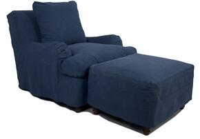 Seacoast Collection SU-116420-30-410046 Slipcovered Chair and Ottoman in Indigo Blue