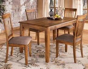 Claudius Collection DR-110-DT4SC Berringer Rectangular Table with Four Chairs, Antique Hardware, Selected Veneers and Hardwood Solids in Hickory Satin
