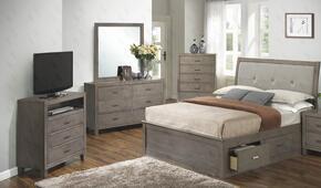 G1205BFSBDMTV 4 Piece Set including Full Storage Bed, Dresser, Mirror and Media Chest in Gray