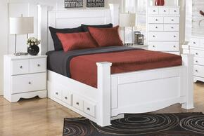 Weeki Collection Queen Bedroom Set with Poster Bed, and Nightstand in White