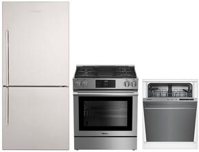 """3-Piece Kitchen Package with BRFB1812SSN 30"""" Bottom Freezer Refrigerator, BGR30420SS 30"""" Slide-in Gas Range, and a free DWT56502SS 24"""" Built In Fully Integrated Dishwasher in Stainless Steel"""
