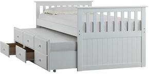 3001-30C Mission Hills set Included Chest and Captains Bed with Casters and Simple Pulls in White