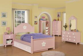 Floresville Collection 00735T6PCSET 6 PC Twin Size Bedroom Set with Bed + Dresser + Mirror + Chest + Nightstand + TV Armoire in Pink Finish