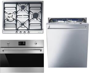 "3-Piece Kitchen Package with SR60GHU3 24"" Gas Cooktop, SU45MCX1 24"" Single Wall Oven, and STU8647X 24"" Fully Integrated Dishwasher"