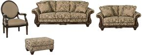 Ashlynn Collection MI-5301SLACO-TOPA 4-Piece Living Room Set with Sofa, Loveseat, Accent Chair and Ottoman in Topaz