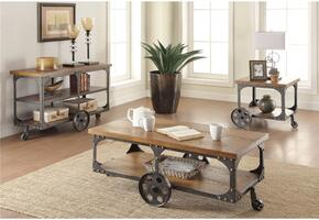 701128CES 3 PC Living Room Table Set with Coffee Table + End Table + Sofa Table in Dark Metal and Rustic Brown Wood Finish