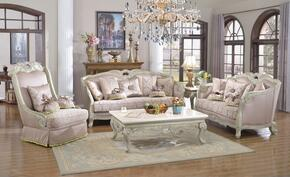 Positano 621-S-L-C 3 Piece Living Room Set with Sofa + Loveseat and Chair in Antique White Finish