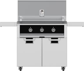 "Aspire Series 36"" Liquid Propane Grill with ECD36BK Tower Grill Cart with Two Doors, in Stealth Black"