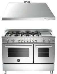 "Professional 2-Piece Stainless Steel Kitchen Package with PRO486GGASX 48"" Natural Gas Dual Fuel Range and KU48PRO1X14 48"" Wall-Mount Range Hood"