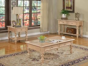 Shantoria 81585CES 3 PC Living Room Table Set with Coffee Table + End Table + Sofa Table in White Washed Finish