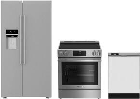 """3-Piece Kitchen Package with BSBS2230SS 36"""" Side by Side Refrigerator, BERU30420SS 30"""" Freestanding Electric Range, and a free DWT25200SSWS 24"""" Built In Full Console Dishwasher in Stainless Steel"""