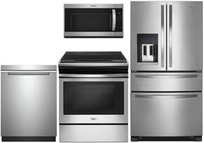 "4-Piece Kitchen Package with WRX735SDBM 36"" French Refrigerator, WEE510S0FS 30"" Gas Freestanding Range, WMH32519FS 30"" Over The Range Microwave oven and WDTA50SAHZ 24"" Built In Dishwasher in Stainless Steel"
